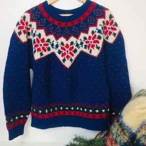 VTG 1990 Eddie Bauer Wool Holiday Winter Sweater M